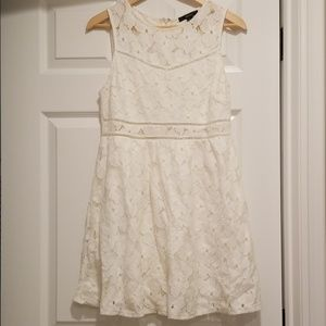 F21 White Lace Skater Dress with Cut Outs Size M